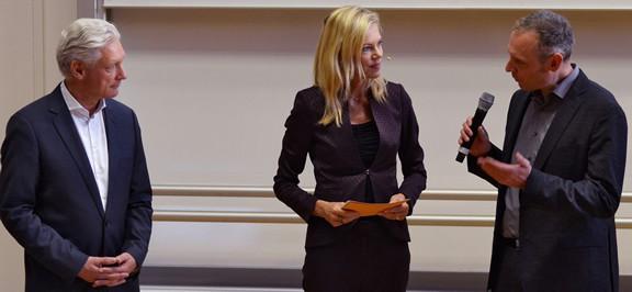 Thomas Issler, Volker Geyer und Nina Ruge beim Internet-Marketing-Tag im Handwerk